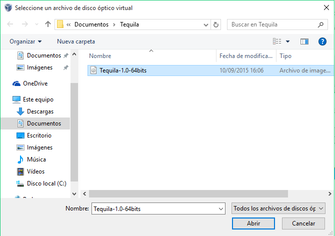 Instalar en una Unidad Virtual Tequila SO 12