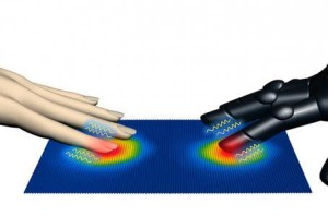 Piel artificial que detecta presión, calor y sonido.