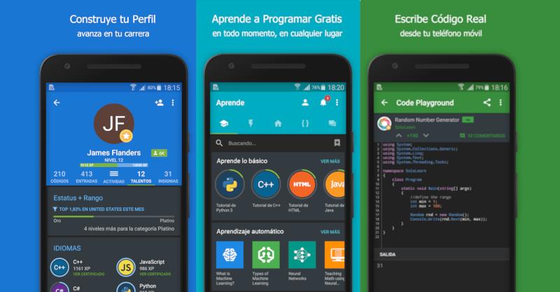 Aplicación para aprender a programar desde tu teléfono móvil.
